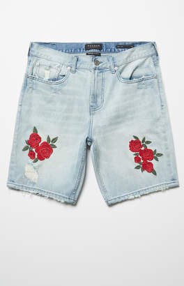 Pacsun Slim Comfort Stretch Floral Light Denim Shorts