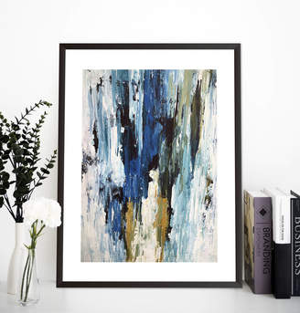 Abstract House Blue Gold Abstract Art Print Framed Wall Art Pictures