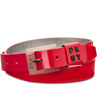 DKNY Patent Belt with Logo Keeper