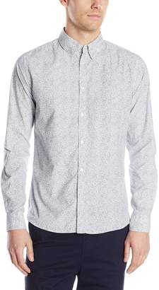 French Connection Men's Mix Daisy Hidden Contrast Long Sleeve Button Down Shirt