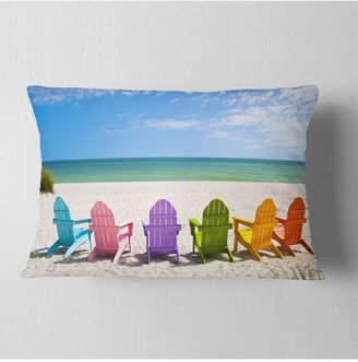 """Adirondack (アディロンダック) - Designart Adirondack Beach Chairs Seashore Photo Throw Pillow - 12"""" x 20"""""""