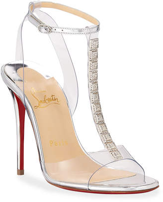 Christian Louboutin Jamais Assez 100 See-Through Red Sole Sandals