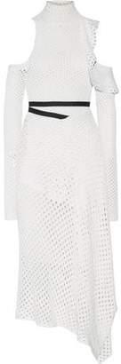 Proenza Schouler Cold-shoulder Open-knit Silk Midi Turtleneck Dress