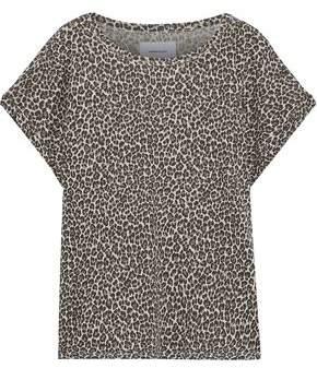 Current/Elliott The Vintage Leopard-print Slub Linen And Cotton-blend T-shirt