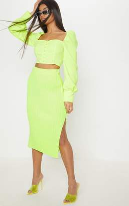 PrettyLittleThing Neon Lime Knitted Ribbed Midi Skirt