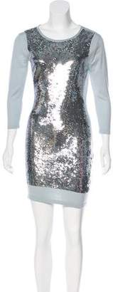Markus Lupfer Sequined Knit Mini Dress