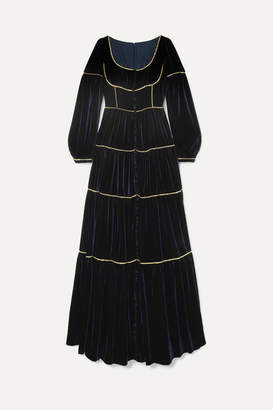 Costarellos Tiered Crystal-embellished Velvet Gown - Midnight blue