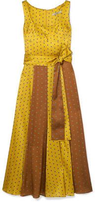 Silvia Tcherassi - Nevaeh Polka-dot Silk-blend Satin Midi Dress - Gold