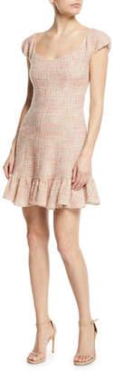 Rebecca Taylor Cap-Sleeve Tweed Flounce Dress