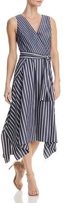 Lafayette 148 New York Demetria Striped Faux-Wrap Midi Dress