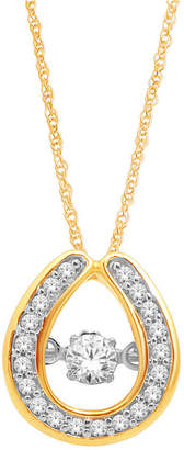 JCPenney FINE JEWELRY Love in Motion 1/5 CT. T.W. Diamond 10K Yellow Gold Teardrop Pendant Necklace