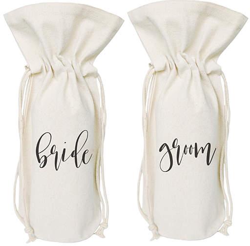 Natural 'Bride' & 'Groom' Gift Bag Set