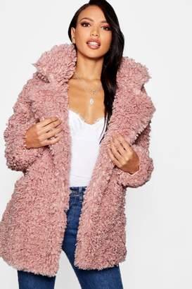 boohoo Premium Teddy Faux Fur Collared Coat