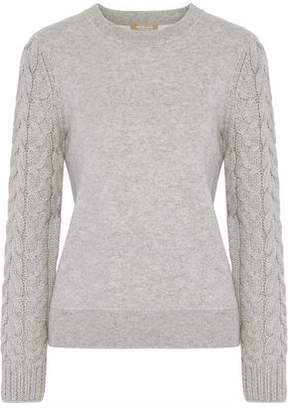Michael Kors Cable Knit-Paneled Mélange Cashmere-Blend Sweater