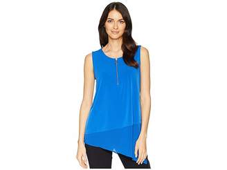 Calvin Klein Sleeveless Asymmetrical Chiffon Hem Top Women's Sleeveless
