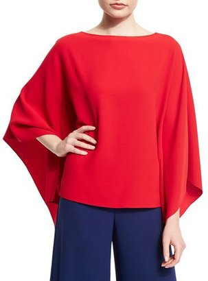 Ralph Lauren Collection 3/4-Sleeve Poncho Top, Red $990 thestylecure.com