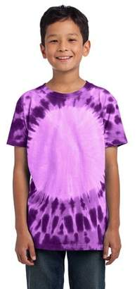 Port & Company Youth Essential Window Tie-Dye Tee. Purple. M.
