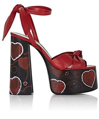 Saint Laurent Women's Leather Painted-Hearts Platform Sandals - Red