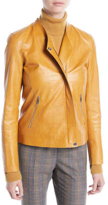 Lafayette 148 New York Devlin Weightless Lambskin Leather Jacket