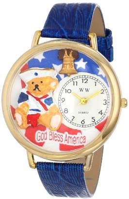 Whimsical Watches Women's G0230004 Patriotic Teddy Bear Royal Blue Leather Watch