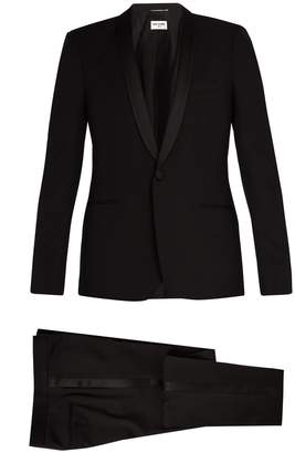 Saint Laurent Shawl-collar satin-trimmed wool tuxedo