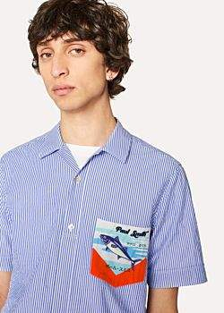 Paul Smith Men's Slim-Fit Blue Stripe Short-Sleeve Shirt With 'Tuna' Print Chest Pocket