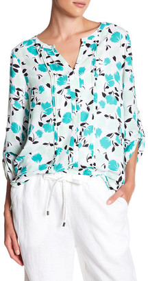 Chaus Pintuck Long Sleeve Bohemian Bloom Blouse $69 thestylecure.com