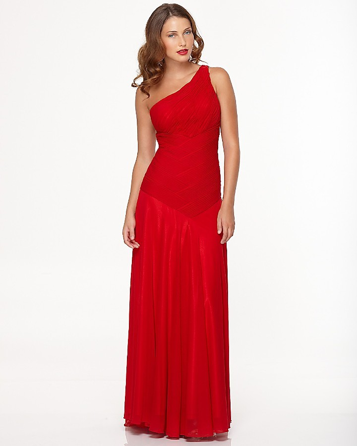 Sue Wong Long One Shoulder Ruched Gown