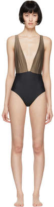 Haight Black and Taupe Marina One-Piece Swimsuit