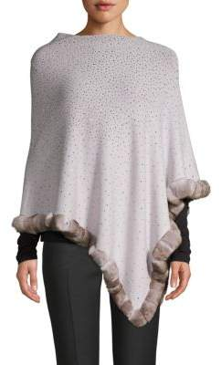 La Fiorentina Embellished Dyed Rabbit-Fur Trimmed Poncho