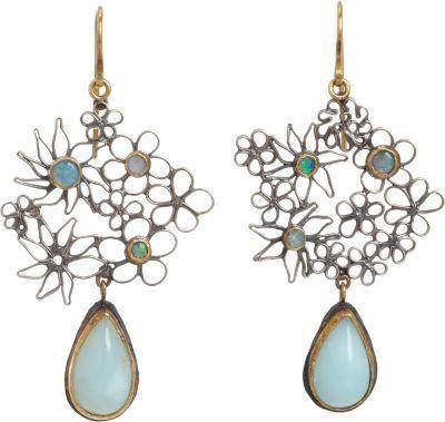 Judy Geib Silver, Australian Opal & Blue Agate Flowery Drop Earrings