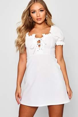 boohoo Puff Sleeve Lace Up Bodice Shift Dress