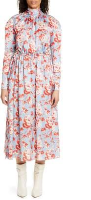 Magda Butrym Viseu Floral Print Silk Jacquard Midi Dress