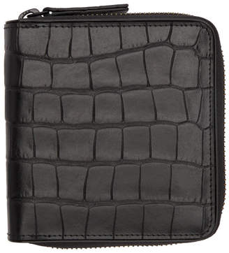 Dries Van Noten Black Croc Zip Wallet