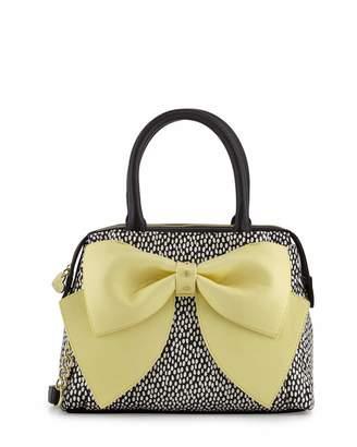 Betsey Johnson Ready Set Bow Dot-Print Satchel Bag, Yellow $95 thestylecure.com