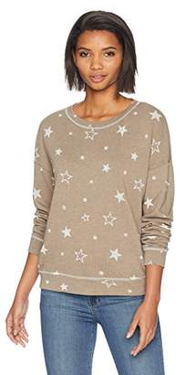 Michael Stars Women's Burnout Star Terry Long Sleeve Crew Neck Pullover