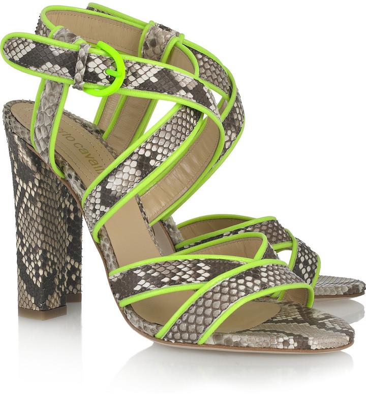 Roberto Cavalli Neon-trimmed python sandals