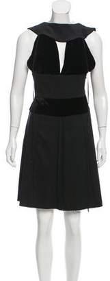 Fendi Wool Velvet-Trimmed Dress