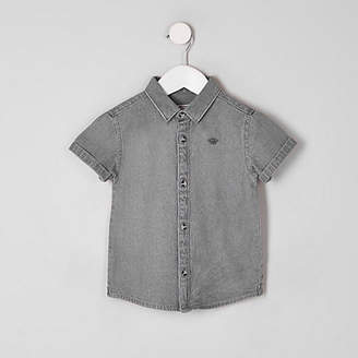 River Island Mini boys grey wasp embroidered denim shirt
