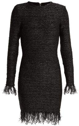Balmain Fringed Tweed Dress - Womens - Khaki