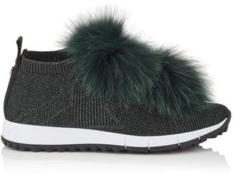 Jimmy Choo NORWAY Black Knit and Lurex Trainers with Bottle Green Fur Pom Poms