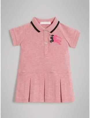 Burberry Logo Detail Tipped Cotton Polo Dress , Size: 6M