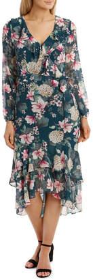 Teal Orient Flower Dream Lover Maxi Dress