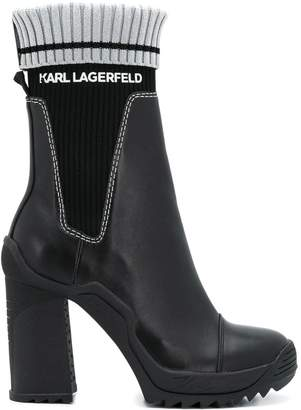 Karl Lagerfeld Paris ribbed high-heeled boots