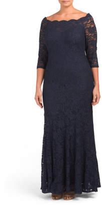 Plus Long Lace Evening Gown