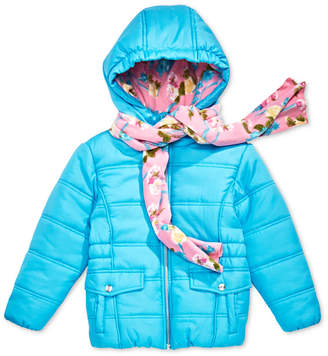 S. Rothschild Little Girls Hooded Puffer Jacket with Scarf
