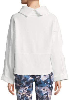 Varley Whittier Cowl-Neck Rib-Knit Sweatshirt