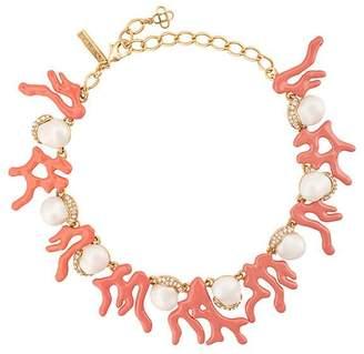 Oscar de la Renta crystal pearl embellished necklace