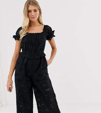 Miss Selfridge broderie jumpsuit with square neck in black