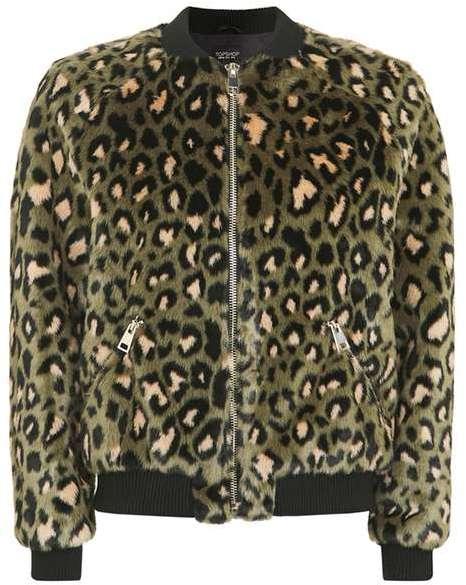 TopshopTopshop Leopard faux fur bomber jacket